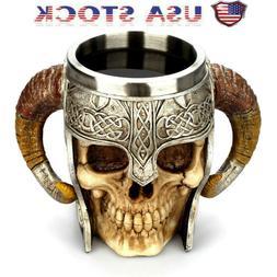Coffee Mug Resin Striking Warrior Tankard Viking Skull Doubl