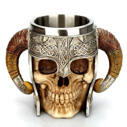 Coffee Mug Resin Striking Warrior Tankard Viking Skull Doubl