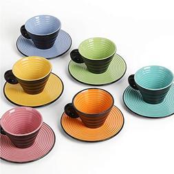 NEX Coffee Mug and Saucer Set, 6 Set of Ceramic Cup with Ela