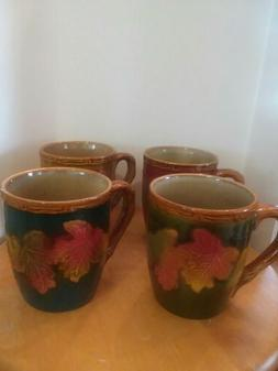 Coffee mug set 4 Fall Leaf design
