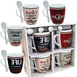 Coffee Mug Set 4 Mug and Spoon Porcelain Set 12 oz White Uni