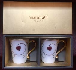 Prouna Coffee Mug Set - Bone China - RUBY GOLD Pattern - NIB