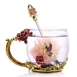 Coffee Mug Tea Cup Novelty creative 3D Flower Rose Mugs Gift