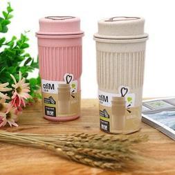 Coffee Mug with Lid Portable Heat-resistant Wheat Stalk Tea
