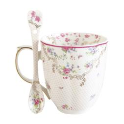 Coffee Mug with Spoon Set Bone China Vintage Rose Tea Cup 12