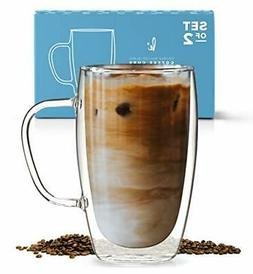 Coffee or Tea Glass Mugs Set of 2,15oz Double Wall Thermo In