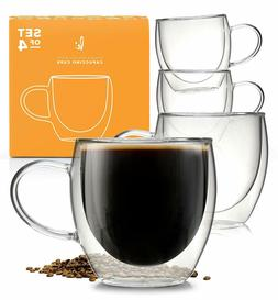 Coffee or Tea Glasses Set of 4-8oz Double Wall Thermal Insul