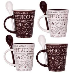 Home Essentials Coffee And Swirl Set of 4 Asst 10oz Mug & Sp