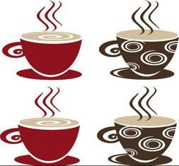 Coffee Tea Cups Mugs Vinyl Decal Wall Sticker Kitchen Dining