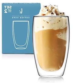 Coffee or Tea Glass Mugs Drinking Glasses Set of 2-15oz Doub