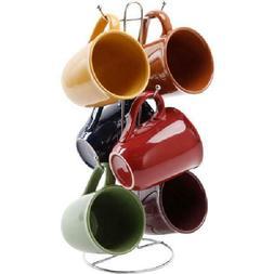 Everyday Coffee Tea Mug Set Of 6 With Stand Rack Multi Color