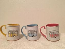 Coffee Vintage Camper Mug Cup Set of 3 - Pink / Rose, Yellow