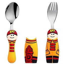 Eat4Fun Duo Collection Kids Fork & Spoon, Fireman