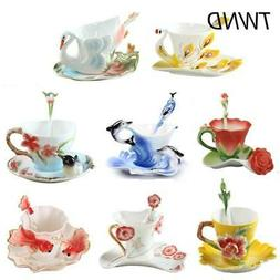 Color Enamel coffee mugs tea cups and mugs with saucer spoon