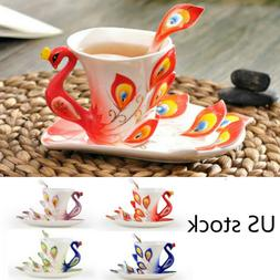 Colorful Porcelain Peacock Coffee Cup with Dish Spoon Office