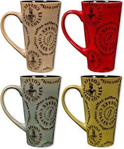 Colorful Tasty Ceramic Coffee Mug with Handle – Set of 4 -