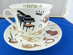 CONCERT MUSIC BREAKFAST CUP SAUCER fine bone china Made in E