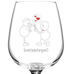 Congratulations! Engagement Wine Glass- 12.75 oz. - Romantic