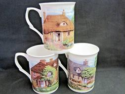 COTTAGES SET 3  10oz MUGS MADE IN ENGLAND ADDERLEY  CERAMICS