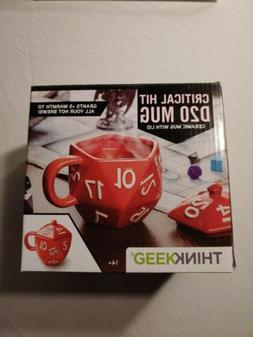 Critical Hit D20 12 oz Ceramic Mug w/ Lid - Coffee Cups & Mu
