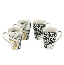 Cardew Design Crosswords Bone China Mug, 15-Ounce, Set of 4