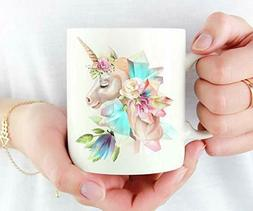 Crystal Mug, Floral Unicorn, Unicorn Stocking Stuffer-11OZ C
