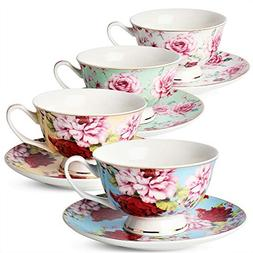 BTäT- Tea Cups, Tea Cups and Saucers Set of 4, Tea Set, Flo