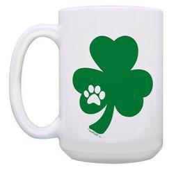 Cute Cat Mugs for Women Shamrock with Pawprint Cute St 15oz