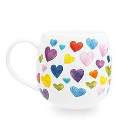 Cute Mugs Colorful Heart Shaped Ceramic Coffee Mug Cups, 13o
