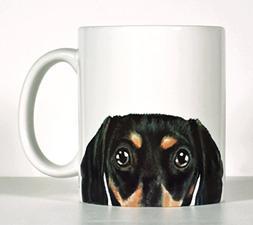 Dachshund, Black OR Red Doxie Coffee Mug, Personalized Dachs