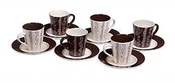 Set of 6 Demitasse Stoneware 2.7 Ounce Espresso Cup and Sauc