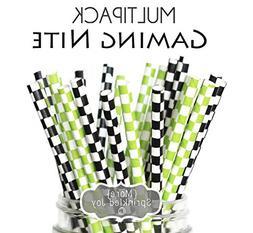 Designer Durable Disposable Drinking Paper Straws  Gaming Ni