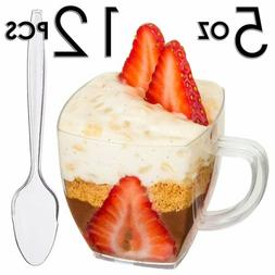 Dessert Mugs Cups With Spoons 5 Oz 12pc Catering Disposable