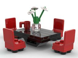 LEGO Dining Room Table & Chairs Furniture Roses Vase Coffee