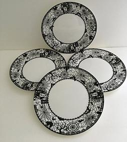 Ciroa Dinner Plates Wiccan Lace Black Cat Haunted House Spid