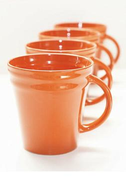 Rachael Ray Dinnerware Double Ridge Mug Set, 4-Piece, Orange