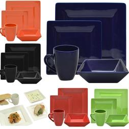 Dinnerware Set For 4 Square 16-Piece Porcelain Plates Dishes