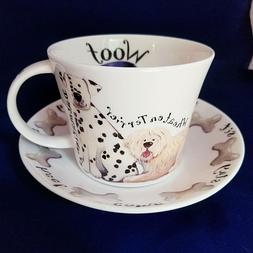 DOG WALK  BREAKFAST CUP SAUCER, fine bone china, Made In Eng