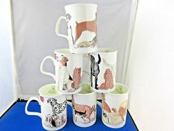 "DOGS GALORE  set ""SIX""  FINE BONE CHINA mugs, Made In Englan"