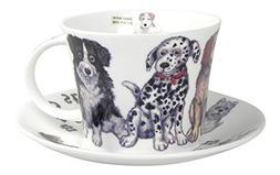 Roy Kirkham Dogs at Home Jumbo Tea cup and Saucer Set