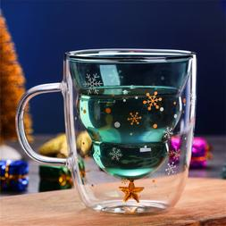 Double-layer Glass Christmas Tree Star Water Cup High Temper