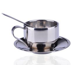 Double Layer Stainless Steel Coffee Mug Tea Cup and Saucer S