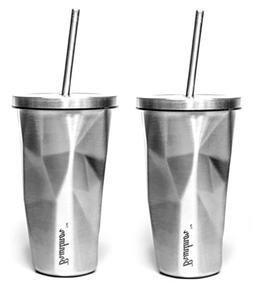 Bruntmor Double Wall Chiseled Tumblers, 18/8 Stainless Steel