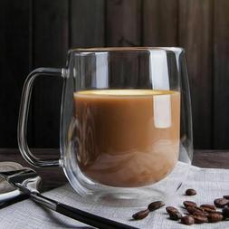Double Wall Glass Ware Coffee Mug With Handle Drinking Insul