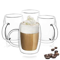JoyJolt Double Wall Glasses 13.5-Ounce Insulated Mugs Double