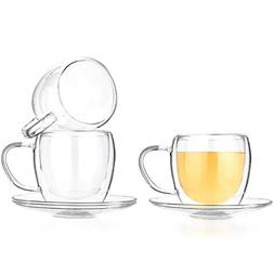 Tealyra - 8.5-Ounce Double Wall Glasses and Saucer - Set of