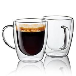 Double-Wall Insulated Coffee Mugs Glasses, 10 oz, Set of 2 -