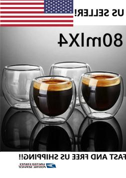 Double wall insulated glass cups, Set Of 4 Espresso size 80m