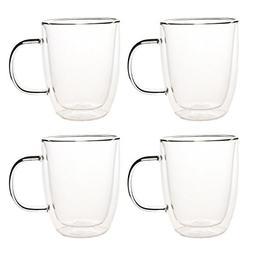 Set of 4 Double Walled Glass Coffee Mugs - Double Walled Cof