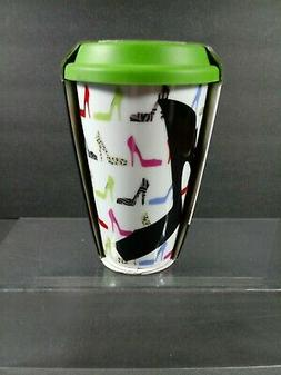 CIROA Double Walled Insulated Ceramic Travel Mug With Silico